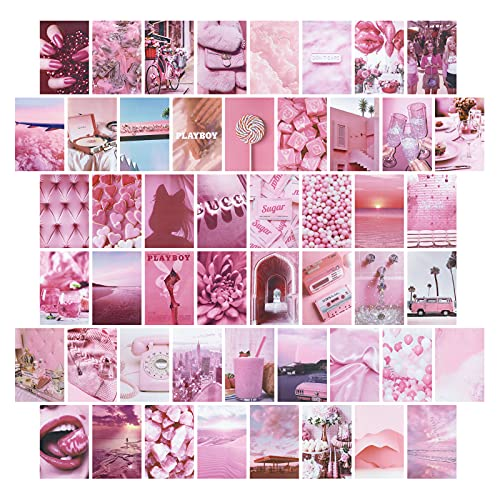 Pristar 50 Hojas Collage de Pared, Pegatina de Pared Rosa para Decoración de Habitación de Niña, Papel Tapiz de Postal, Pintura de Pared de Habitación, Colección de Fotos 10,2 x 15,2 cm (Rosa)