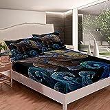 Juego de sábanas de tortuga para niños, niñas, niños, olas de tortuga, juego de cama ultra suave bordado negro, 3 piezas tamaño king