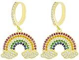 Miyu Pendientes de arcoíris para mujer, de plata 925 y circonitas, colección Silver multicolor