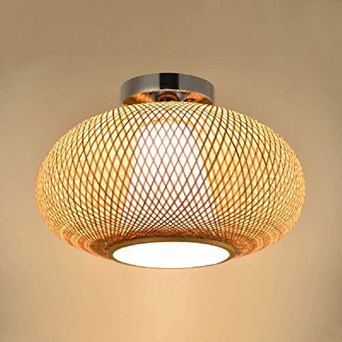 Lámpara de Techo Personalidad Estilo de casa de Campo Tejido a Mano de bambú Luz de Techo E27 emi Montaje Empotrado en el Techo Iluminación Colgante Pantalla de bambú para el Dormitorio Sala de e