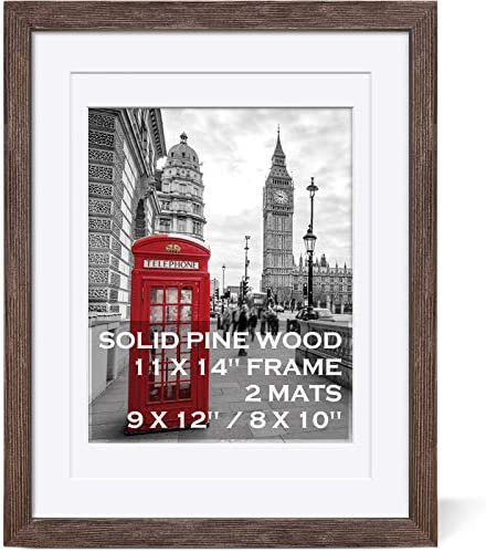 11x14 Rustic Picture Frames Solid Wood Distressed Brown Display Picture 9x12 or 8x10 with Mat product image