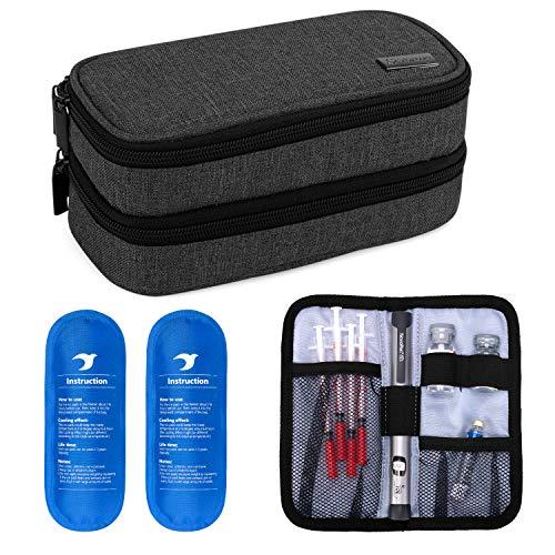 Yarwo Kühltasche für Insulin, Diabetes Zubehör Tasche, Diabetikertasche für Diabetes Spritzen, Insulininjektion Aufbewahrungstasche mit 2 Kühlakkus, Mittel, Schwarz
