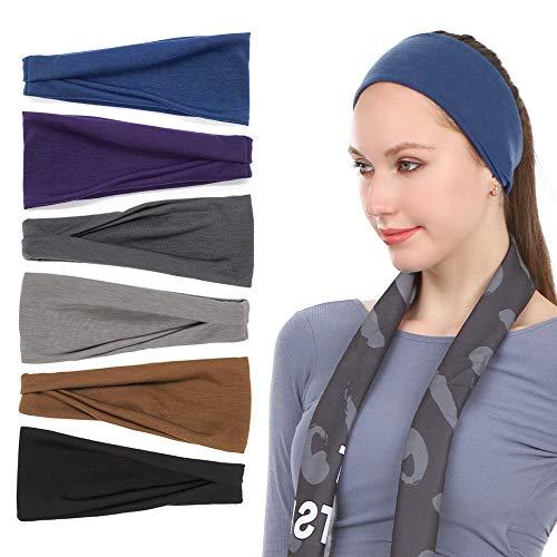Sea Team 6er Pack Sport Workout Stirnbänder Weiche elastische Yoga Running Fitness Haarbänder für Frauen