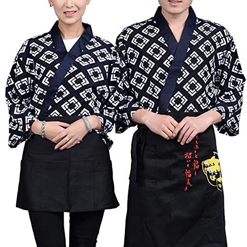 DNJKH Abrigo Monos de Servicio de Comida Tela de Algodón Kimono Ropa Laponesa Coreana para Restaurante y Sushi