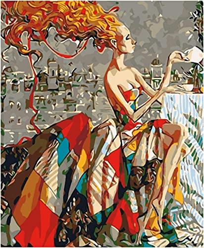 MYQF Cuadros para Pintar por Numeros Adultos, Chica Rubia Vestida Pintura por Números con Pinceles y Pinturas Decoraciones para el Hogar 16*20 Pulgadas