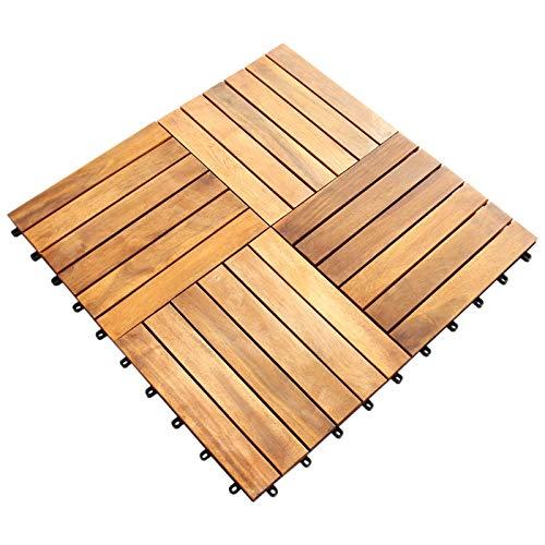 39 st Golvplattor av Akaciaträ | Golv för Balkong Terrasser Uteplatser Trä