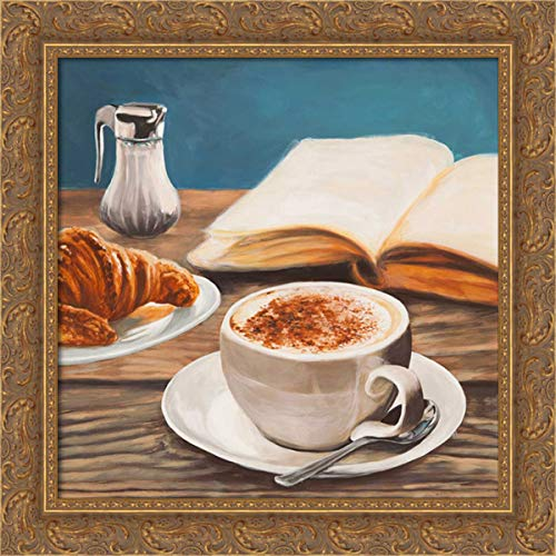 Ferrari, Sandro 20x20 Gold Ornate Framed Canvas Art Print Titled: Cappuccino and Book