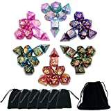 SmartDealsPro 6 x 7PCS(42 Pieces) Glitter Polyhedral Dice Sets with Pouches for DND RPG MTG Dungeon and Dragons Table Board Roll Playing Games D4 D8 D10 D12 D20