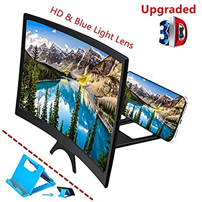 """Curved 12"""" Phone Screen Magnifier & Phone Holder Stand,3D HD Anti-Blue Light Lens,Foldable Phone Screen Enlarger,Universal Cell Phone Screen Amplifier for Video,TV, Games, Compatible All Smartphones from PVJALI"""