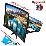 Curved 12' Phone Screen Magnifier & Phone Holder Stand,3D HD Anti-Blue Light Lens,Foldable Phone Screen Enlarger,Universal Cell Phone Screen Amplifier for Video,TV, Games, Compatible All Smartphones