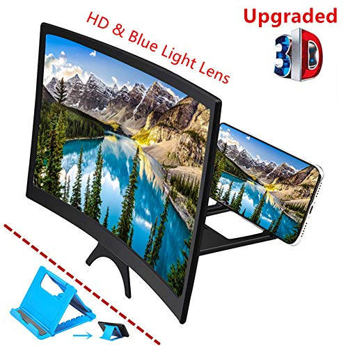 "Curved 12"" Phone Screen Magnifier & Phone Holder Stand,3D HD Anti-Blue Light Lens,Foldable Phone Screen Enlarger,Universal Cell Phone Screen Amplifier for Video,TV, Games, Compatible All Smartphones"
