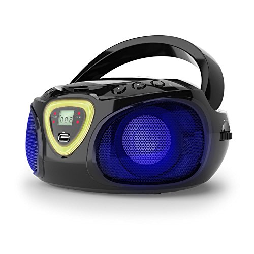 auna Roadie Kids Portable Boombox with CD Player and Radio, LED Light, AM/FM Radio, Bluetooth, MP3/CD Player, Aux-Input, Headphone Jack, Black