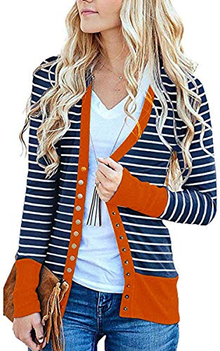 CinShein Women's Striped Cardigan Button Down Knitwear Striped Long Sleeve Knit Ribbed Neckline Sweater Coat Orange S