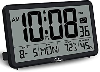 WallarGe Digital Wall Clock, Autoset, Desk Clock, with Temperature, Humidity and Date, Battery Operated, Digital Clock Large Display, 8 Time Zone, Auto DST. (Black)