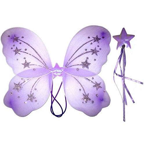 Ladies Girls Butterfly Fairy Wings and Wand White Pink Purple Yellow (Purple)