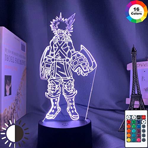 3D-Illusionslampe Führte Nachtlicht Katsuki Bakugo Kinderzimmer Anime My Hero Academia Geschenk Berührungssensor Zimmer Kindergeburtstag Weihnachtsgeschenke