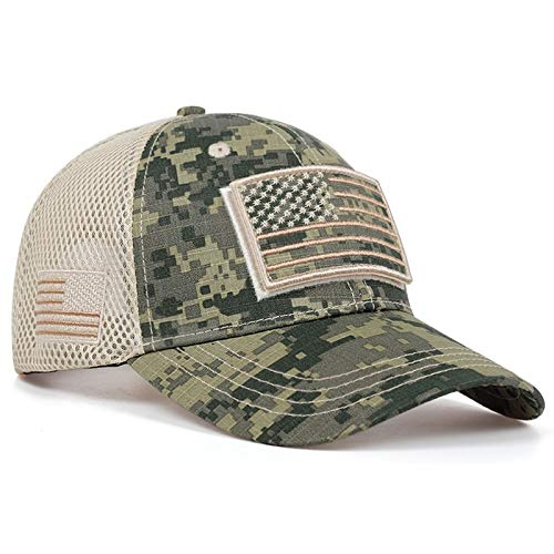 YL Táctica de Camuflaje Gorras de béisbol de Verano Mesh Hats Militares del Ejército Diseñado Gorras de béisbol de los Hombres con Franjas de la Bandera EE.UU. (Color : Camouflage 5)