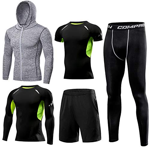 1Bests Men's 5 Pieces Sportswear Sets with Hoodies Jackets Short Sleeves Long Sleeves Shirt Compression Tights Shorts Quick Dry Workout Fitness Tracksiuts (Grey-KI613, 4XL)