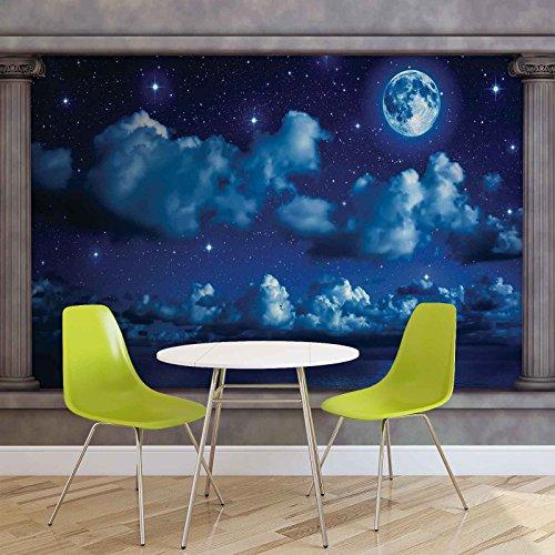 Blauer Nachthimmel Fenster Aussicht - Forwall - Fototapete - Tapete - Fotomural - Mural Wandbild - (2873WM) - XL - 208cm x 146cm - VLIES (EasyInstall) - 2 Pieces