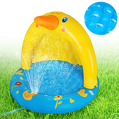 Inflatable Baby Pool with Canopy, Kiddie Splash Duck Pool with Sprinkler Outdoor Water Toys Summer Blow up Swimming Pool Outside Backyard Indoor Gift for Kid Toddlers Boy Girl Age 1-2 1-3 Year Old
