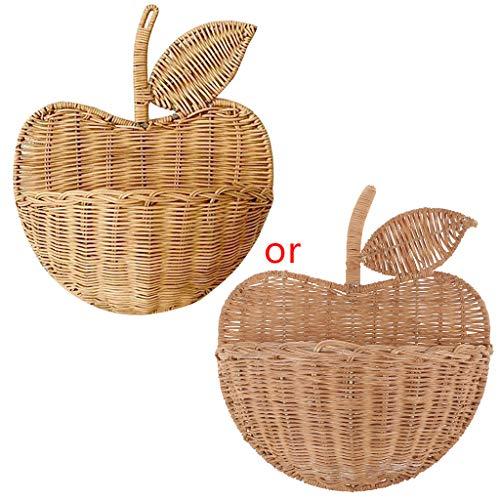 KerDejar Ropa colgante Decoración para el hogar lindo tejido a mano fruta forma ratán cesta organizador