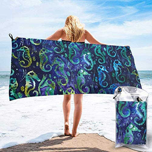 Toalla de Playa para Mujer, Toalla de Microfibra para Piscina para Parrillas, patrón de Caballito de mar Dibujado a Mano, Toallas de Secado rápido para Viajes al Aire Libre
