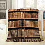 Mugod Library Throw Blanket Old Books on Wooden Shelf in The National Library of Vienna Decorative Soft Warm Cozy Flannel Plush Throws Blankets for Bedding Sofa Couch 60 X 80 Inch