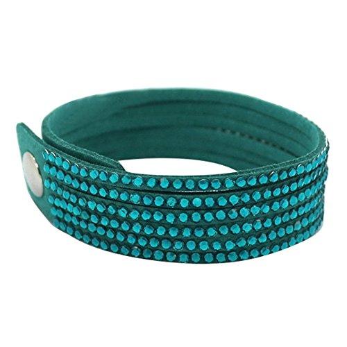 Sanwood Damen Multilayer Wickeln Strass Kunstleder Verstellbares Armband Armreif (Pfau-blau)