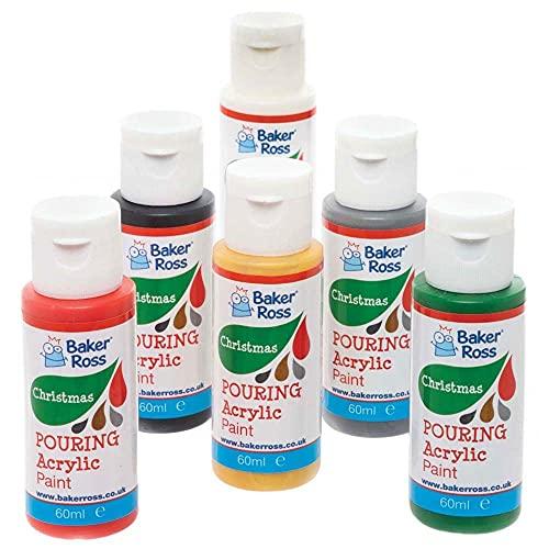 Baker Ross FE807 Pittura Acrilica Natalizia da Versare - Confezione da 6, Set di Colori per Bambini, Forniture Artistiche e Artigianali per Personalizzare i Progetti