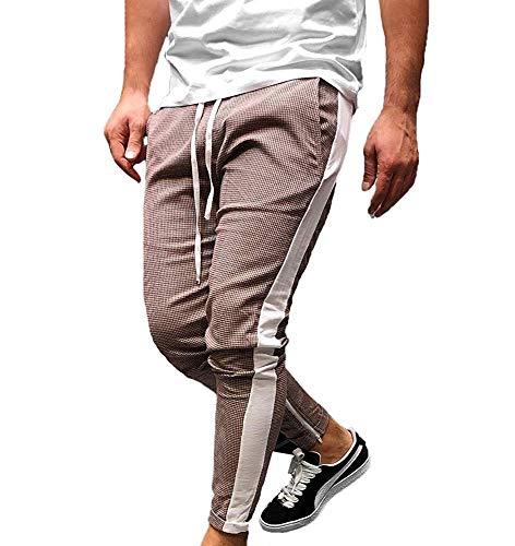 BOLAWOO Pantalones Ajustados De por Pata Pantalones De Gallo De Mode De Marca Rayas Pantalones Elásticos De Hombre con Ropa Ajustada (Color : Braun, Size : XL)