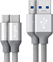 Ringke USB 3.0 Cable (3.4ft) Type C to A Port (2 Pack) Tangle Free Durable Fast Charging Capability Sync 3.0 Connector Cord Universal Compatibility, Supports Android, Nintendo Switch, Tablets and More