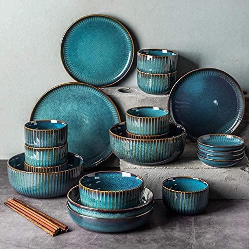 hyywmgx Serie Starry Sky, Juegos de vajilla, Platos de cerámica de gres, Platos y Cuencos de Porcelana para 6 8 10, Juego de vajilla de Porcelana de Lujo