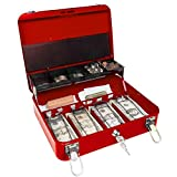 Certus Global Large Red Cash Box with Money Tray, Secure Lock, Cantilever Coin Tray 4 Bills/ 5 Coins (Cardinal Red)