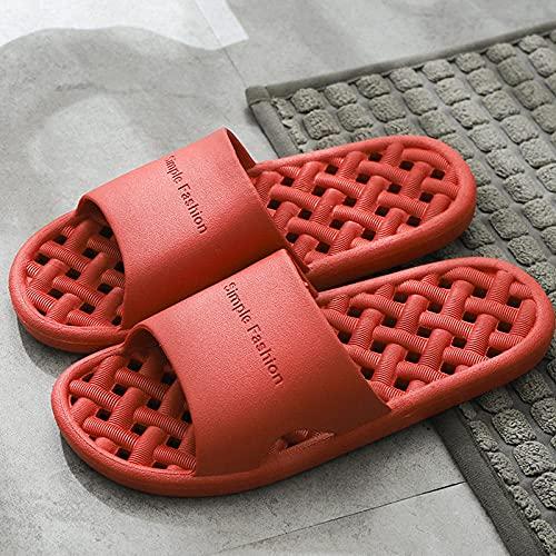 Zapatillas De BañO Para Hombre Zapatillas de baño para baño interior para hombres y mujeres, chanclas para el dormitorio del hotel en casa de familia, zapatos deslizantes para mujer, rojo EU35-36