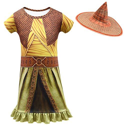 Raya and The Last Dragon Cosplay Costume Bambina Halloween Carnevale Tuta Party Cosplay Set di 3 Oro+cappello 110 cm