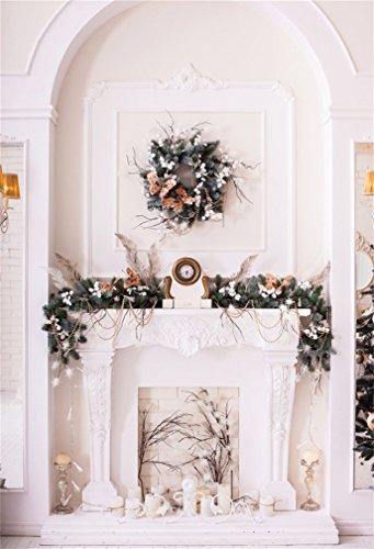 YongFoto 3x5ft Fotografie Achtergrond Kerstmis Open Haard Garland Pine Twigs Kaarsen Interieur Gelukkig Nieuwjaar Foto Achtergronden Fotografie Video Party Kids Photo Studio Props