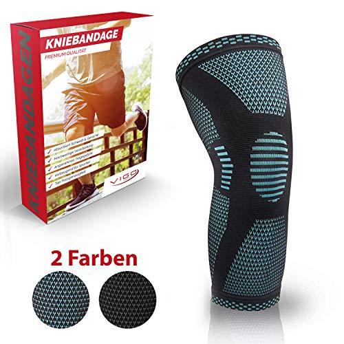 Vigo Sports® Anti Rutsch Kniebandage für Sport, Schmerzlinderung & Genesung – Optimale Knieschützer für Männer & Damen – Elastische Knieschoner für Volleyball, laufen & joggen (L)