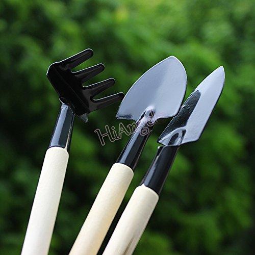 1 lot Petite mignon Mini outils de jardin Petite pelle Râteau Spade Manche en bois en métal tête enfants outils # 10195