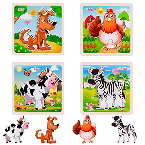 Rolimate houten puzzel voor peuters van 3 tot 5 jaar, 3D plug-in puzzel houten Montessori speelgoed, voorschoolse puzzels voor kinderen, leerpuzzels beste verjaardagscadeau voor jongens en meisjes