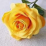 Jun7L Rosen 10 Stück Real Touch Schöne Echtes Moisturizing Curling Knospe Latex künstliche Rose Kunstblumen Blume Dekoration Blumenstrauß Blumenarrangement Gelb A 45X6.5CM