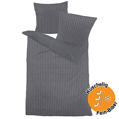 Aminata kids - Premium Biber-Bettwäsche-Set anthrazit grau 135-x-200 cm Streifen-Motiv gestreift, Baumwolle, warm, weich & kuschelig - Männer, Damen, Jugendliche & Paare