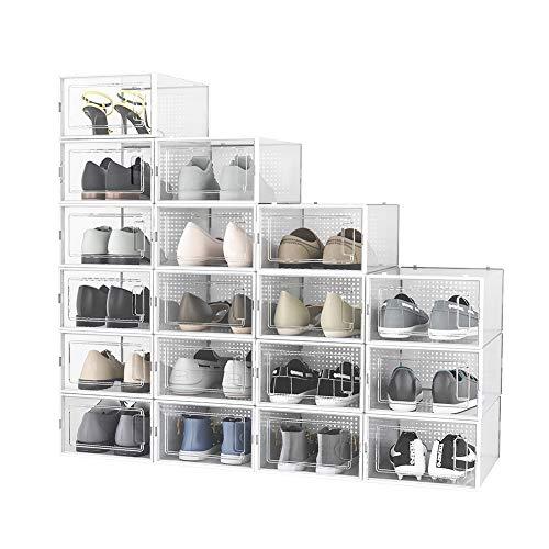 Crestlive Products 18 Pack Shoe Storage Box, Plastic Foldable Shoe Box, Stackable Clear Shoe Organizer (Medium/ White)