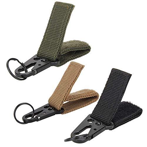 maxgoods Lot de 3 mousquetons en nylon avec sangle pour équipement tactique, porte-clés avec sangle - Compatible avec les sacs Molle pour la randonnée, les activités de plein air