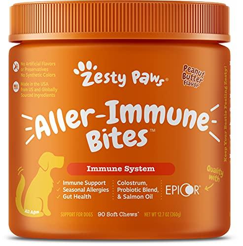 Zesty Paws Allergy Immune Supplement for Dogs - with Omega 3 Wild Alaskan Salmon Fish Oil & EpiCor + Digestive Prebiotics & Probiotics - Anti Itch & Skin Hot Spots + Seasonal Allergies - Peanut Butter
