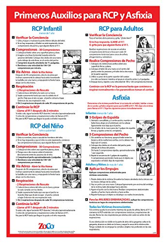 CPR & Choking Poster in Spanish - CPR Wall Chart - School Supplies in Spanish - Spanish CPR Poster Laminated, Choking Sign for Restaurants - 12 x 18 inches