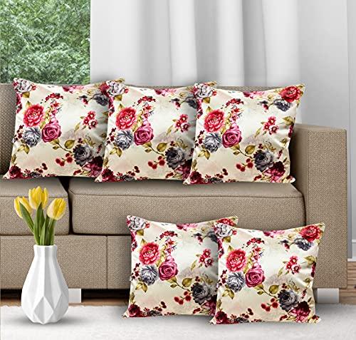 CIDIZY Set of 5 Designer Golden Floral Cushion Covers 16 x 16 Inch