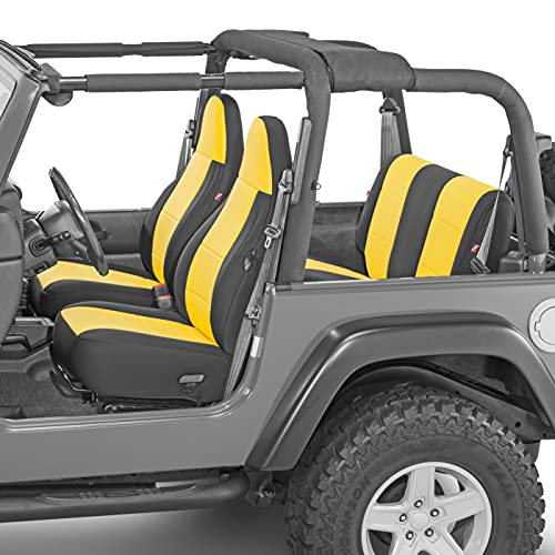 Diver Down Front and Rear Neoprene Seat Cover Set, Yellow - Fits Jeep Wrangler TJ 1997-2002 - Custom Fit Seat Covers - Soft Cushion Feel - Padded and Pleated for Comfort - Installs in Minutes