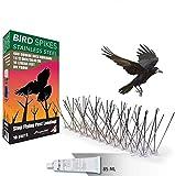 Aspectek Sistema Anti Pájaros de Acero Inoxidable - 10 Hileras de Púas...