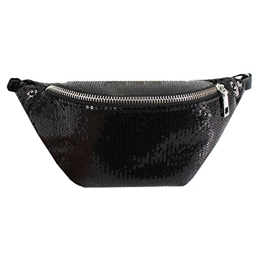 Lzpzz Mujeres Chicas Moda Lentejuelas Big Cintura Bolsa Glitter Festival Fanny Pack Deportes Casual Cintura Paquete Crossbody Bolsa (Color : Black)