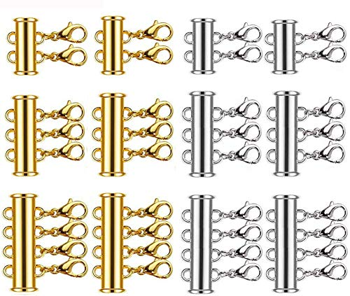12 Pieces 3 Sizes Slide Clasp Lock for Necklace - Gold and Silver Plated Magnetic Tube Lock Connectors for Layered Bracelet Jewelry Multi Strands Crafts Necklace Spacer Clasp (12 PCS-2)